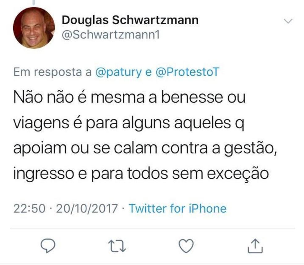 Douglas Schwartzmann em publicação no twitter sobre o São Paulo — Foto: Reprodução / Twitter