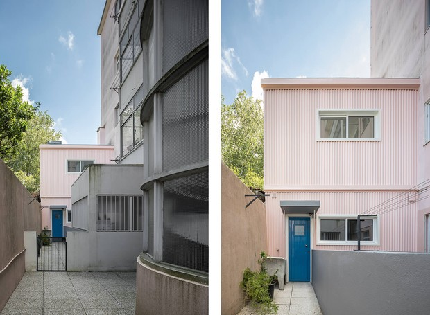 A fachada de metal colorida em rosa millennial pode ser facilmente reconhecida em meio ao cinza das construções ao redor (Foto: Paolo Moreira/ Reprodução)