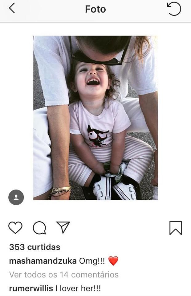 Comentário de Rumer, filha de Demi Moore, em foto de Masha (Foto: Reprodução/Instagram)