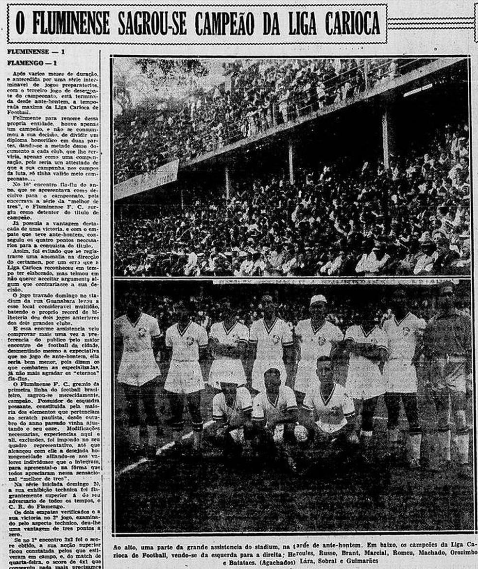 """Título do Fluminense no jornal """"Correio da Manhã"""" de 29/12/1936 — Foto: Reprodução / Correio da Manhã"""