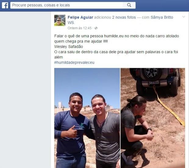 Fã postou vídeo em que Wesley Safadão o ajuda a desatolar o carro em redes sociais (Foto: Reprodução/Facebook)