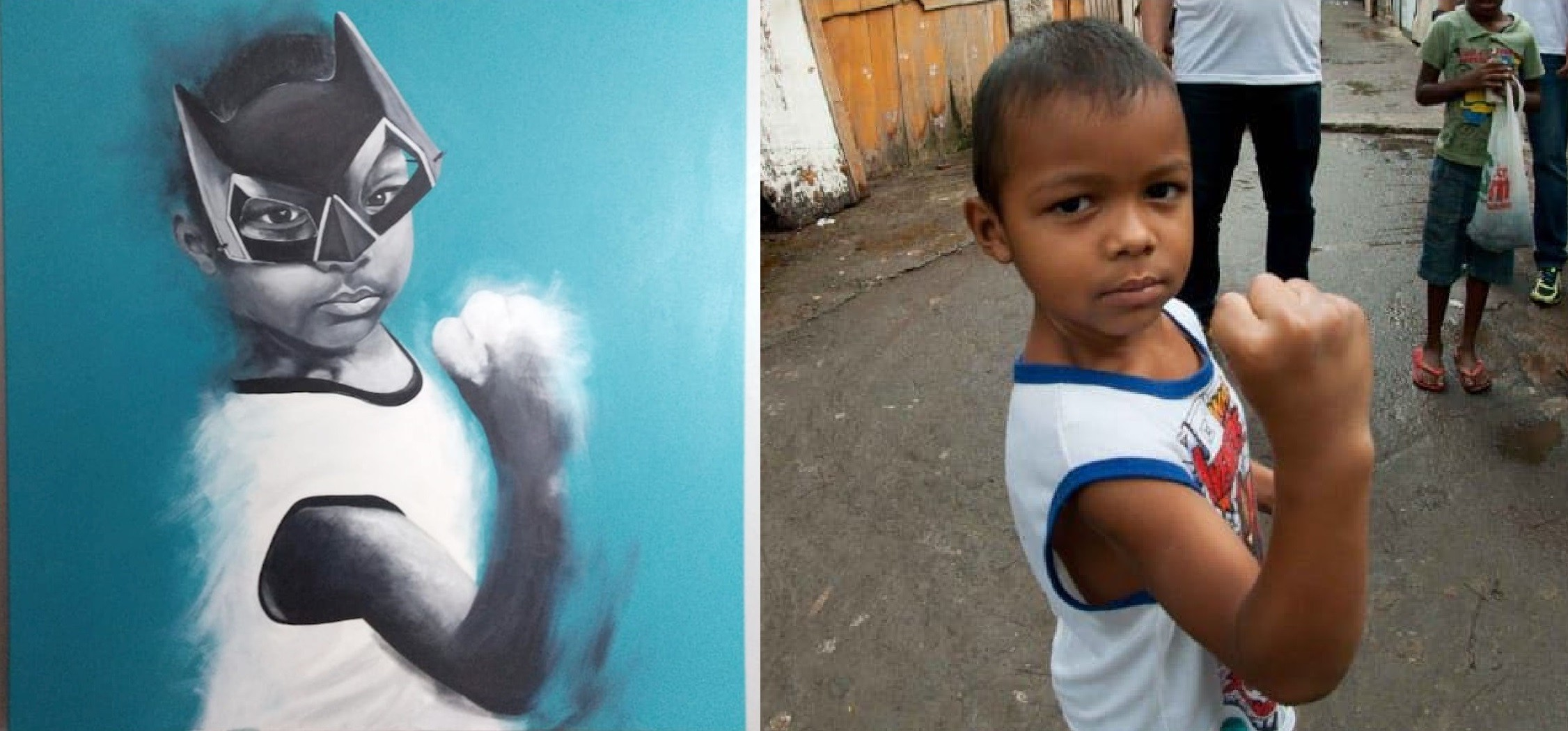 O garoto Enzo, na pintura de Jorge Gomes