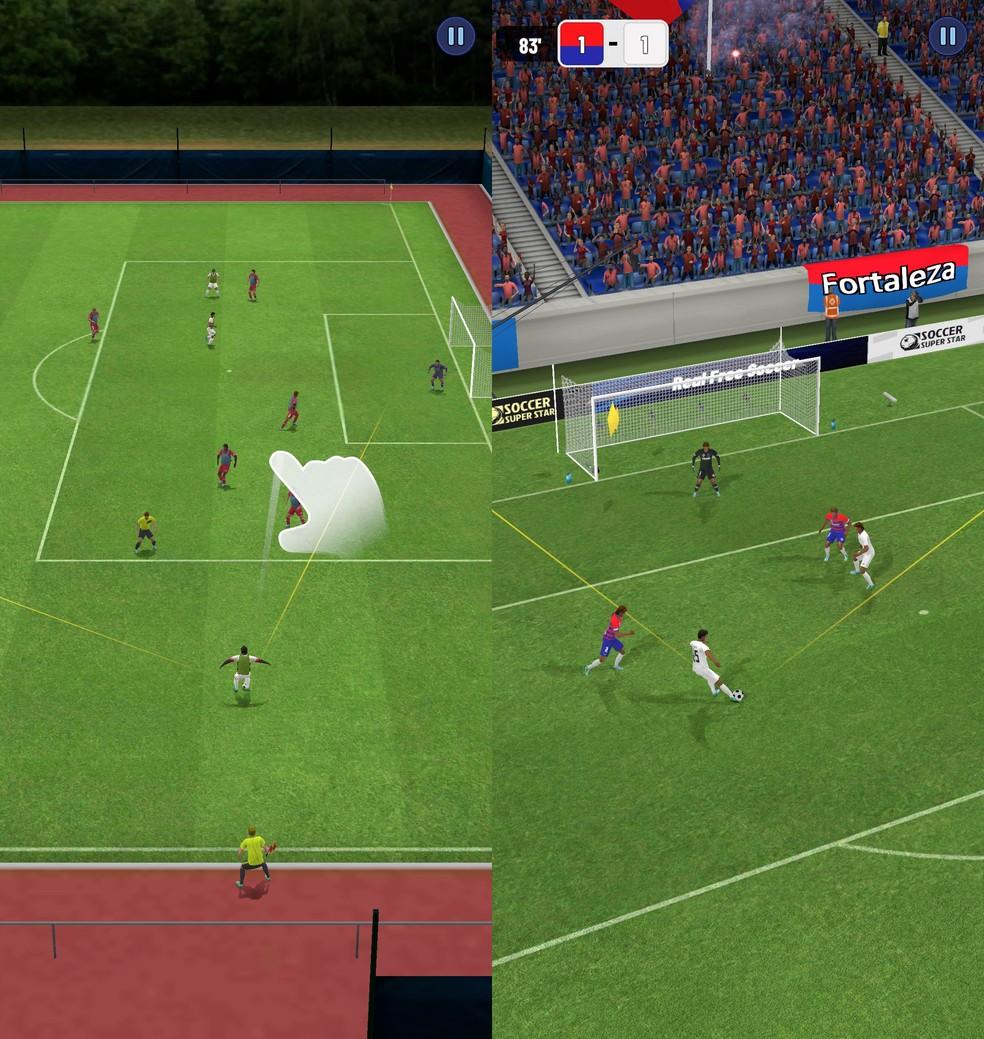 Partidas em Super Soccer Star consistem em lances isolados — Foto: Reprodução/Filipe Garrett