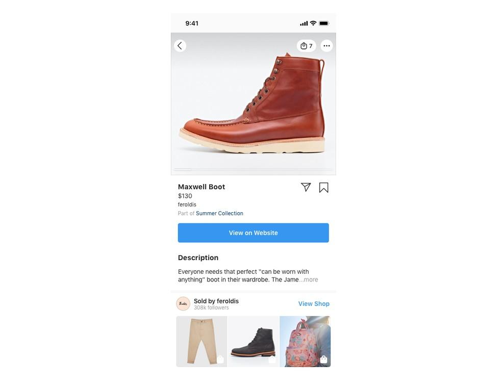 Produtos à venda no IGTV são exibidos com preço e informações técnicas no e-commerce do Instagram — Foto: Divulgação/Instagram