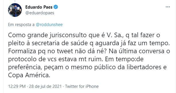 Paes pede que Flamengo oficialize pedido de reabertura para público no Maracanã junto à prefeitura