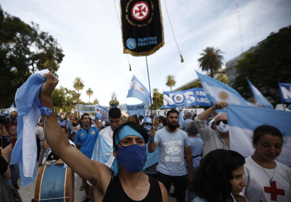 Com bandeiras nacionais e cores azul e branca nas roupas e cartazes, manifestantes contra o aborto protestam em Buenos Aires, na Argentina, nesta segunda-feira (28) — Foto: Emiliano Lasalvia/AFP