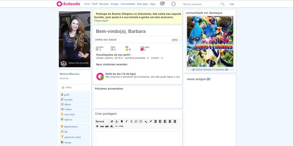 Site que simula o Orkut mostra sorte do dia, recurso famoso do site clássico (Foto:  Reprodução/Barbara Mannara)