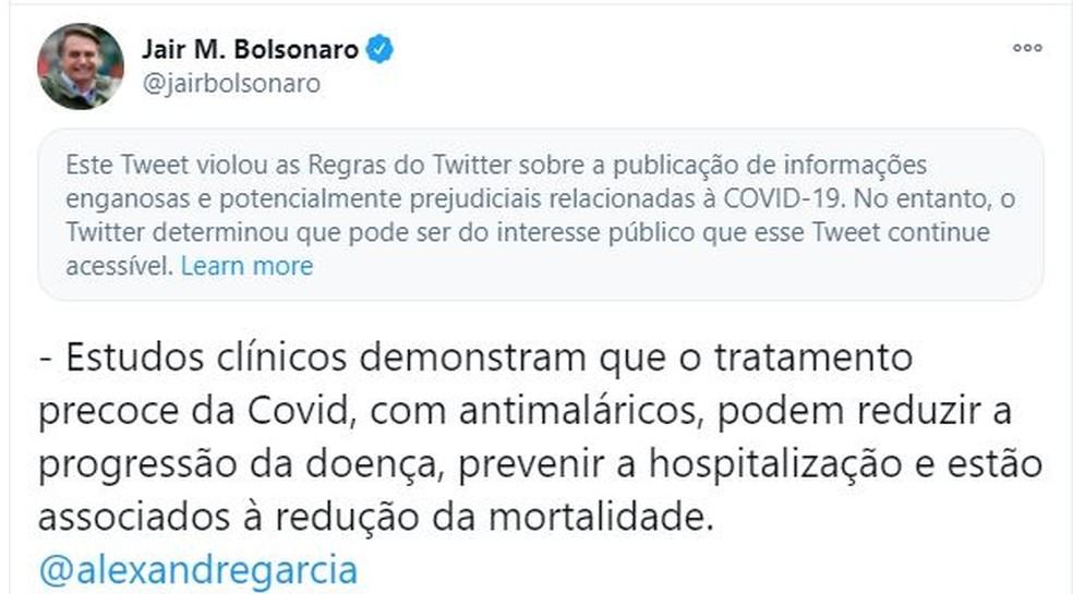 Tuíte de Bolsonaro — Foto: Twitter