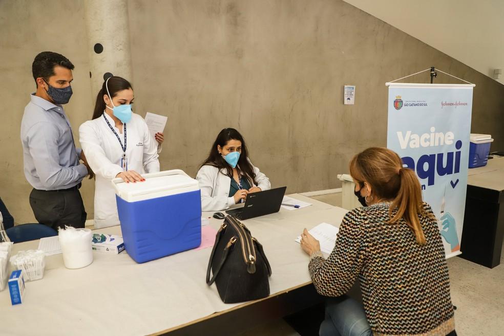 Posto de vacinação contra a Covid-19 de São Caetano do Sul, no ABC Paulista.  — Foto: Divulgação/Secom/PMSCS
