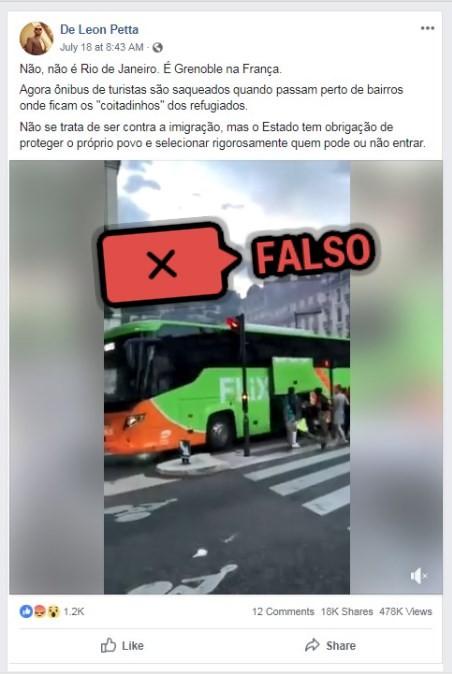 """É falso que ônibus tenha sido saqueado """"em bairro de refugiados"""" na França"""