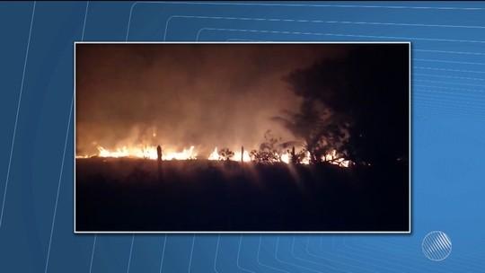 Incêndio atinge vegetação perto de praia no sul da Bahia