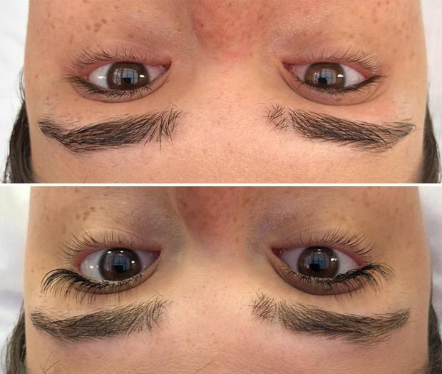 Antes e depois dos cílios da Helena: dá pra ver a diferença! (Foto: Divulgação)