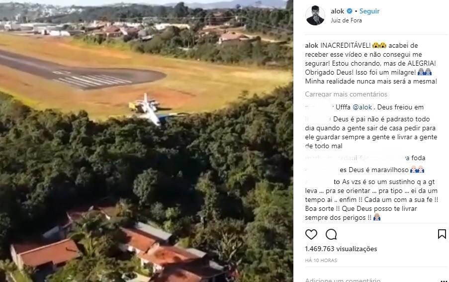 DJ Alok publica imagens aéreas de avião parado após sair da pista em Juiz de Fora: 'Isso foi um milagre'