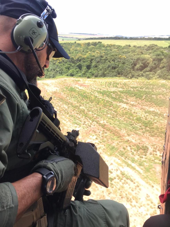 Helicóptero apoiou apreensão de cigarros da PRF em Ourinhos — Foto: Polícia Rodoviária Federal/Ourinhos
