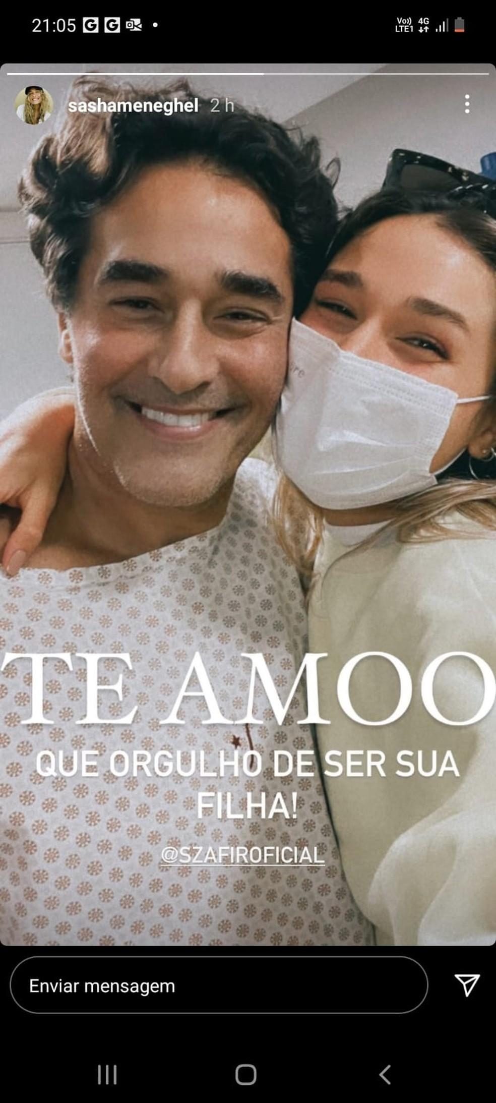 Sasha posta foto com o pai, Luciano Szafir, no hospital: ela voltou da lua de mel — Foto: Reprodução/Instagram