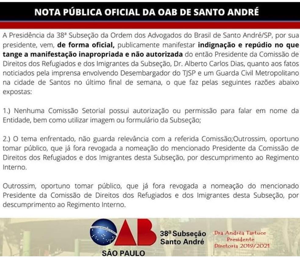 OAB Santo André divulga nota de repúdio à manifestação inapropriada de comissão — Foto: Reprodução