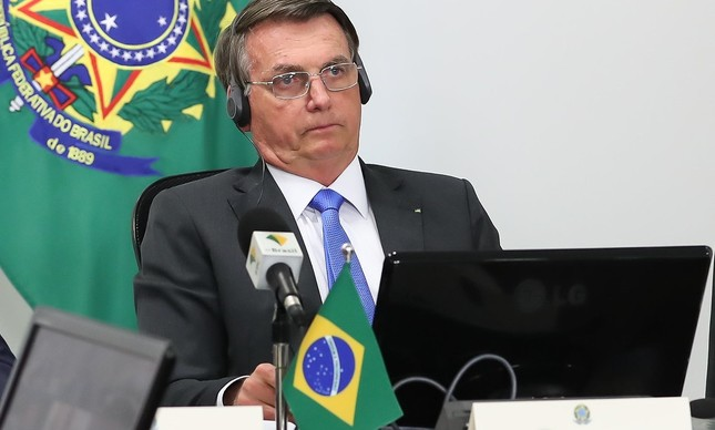 Jair Bolsonaro em videoconferência sobre a Amazônia