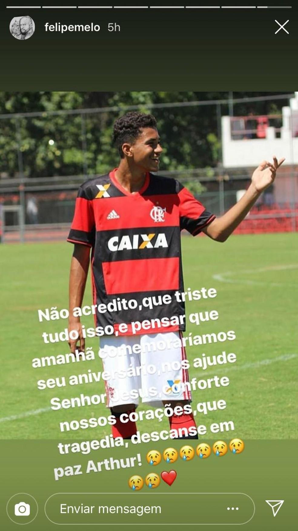 Mensagem de Felipe Melo, do Palmeiras, no Instagram — Foto: Reprodução / Instagram