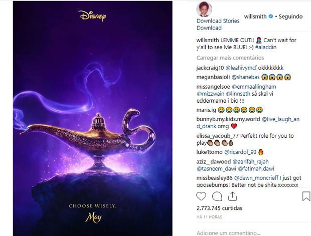 Primeiro cartaz do live-action de Aladdin (Foto: Reprodução/Instagram)