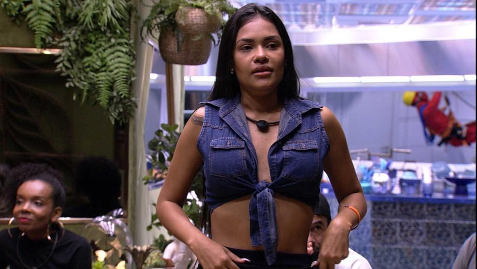 Flayslane ficou chateada por não ser escolhida por Gabi — Foto: Globo