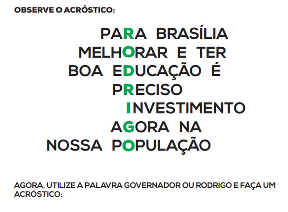 Trecho da cartilha de oposição ao governador Rodrigo Rollemberg lançada pelo Sinpro-DF (Foto: Reprodução)