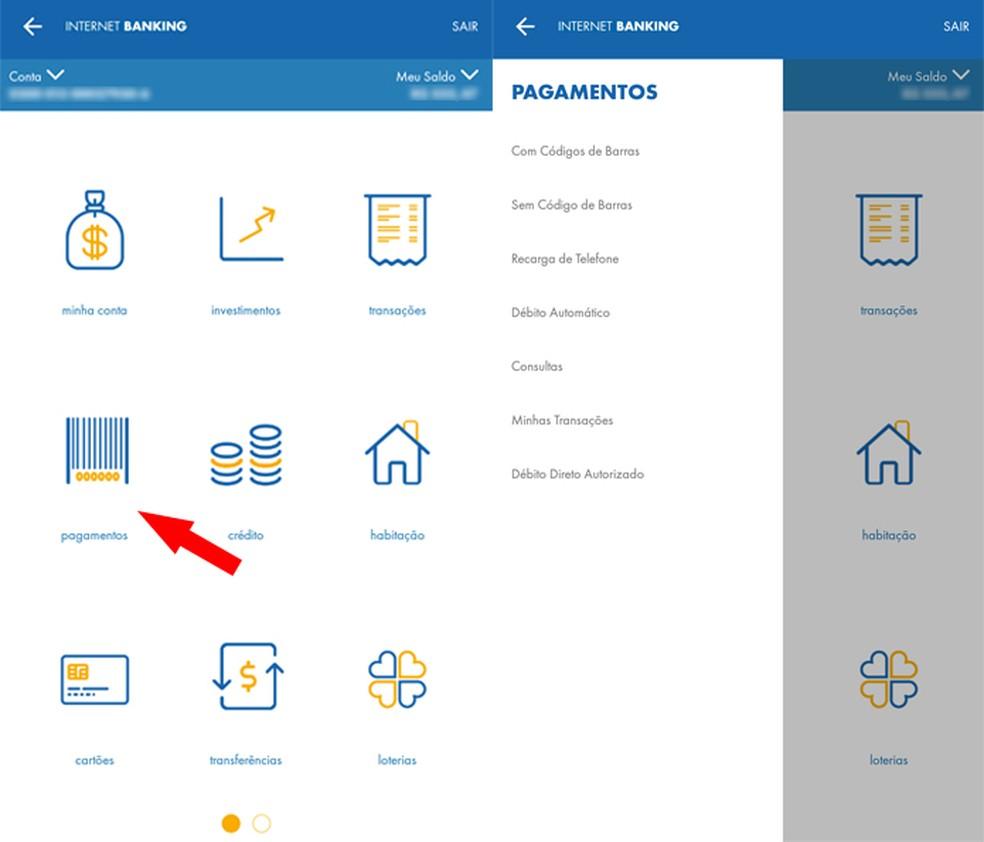 menu-pagamentos Como usar o aplicativo da Caixa