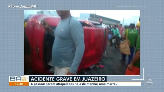 Sete pessoas são atropeladas após carro invadir rotatória no norte da Bahia; um morre