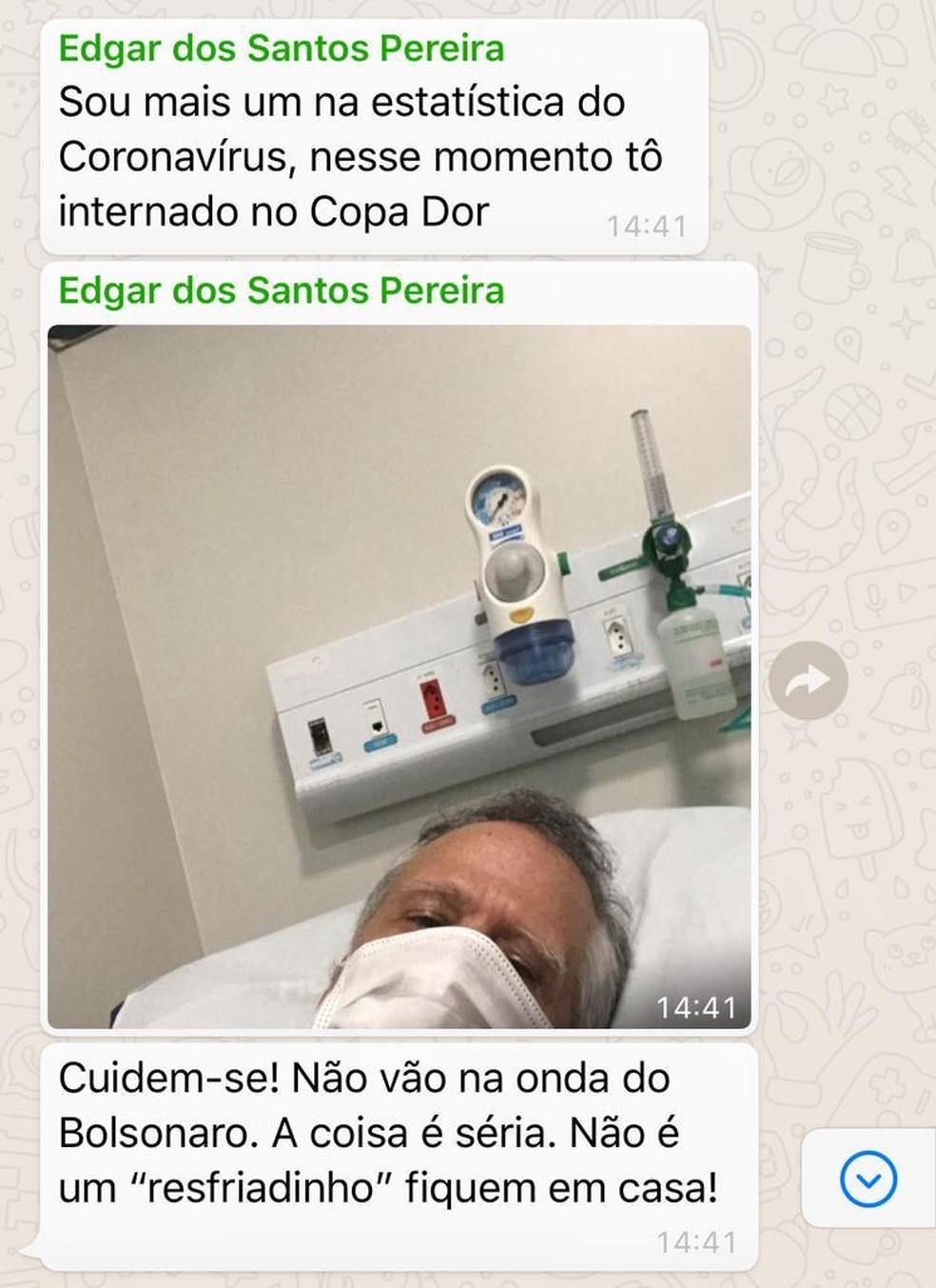 Edgard dos Santos enviou uma mensagem com alerta sobre o coronavírus antes de morrer  — Foto: Reprodução/Arquivo pessoal