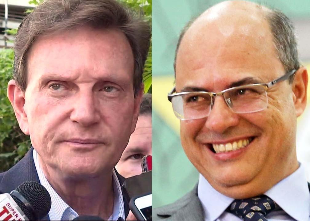 Marcelo Crivella e Wilson Witzel são alvos de pedidos de impeachment no Rio, em processos independentes — Foto: Reprodução/TV Globo