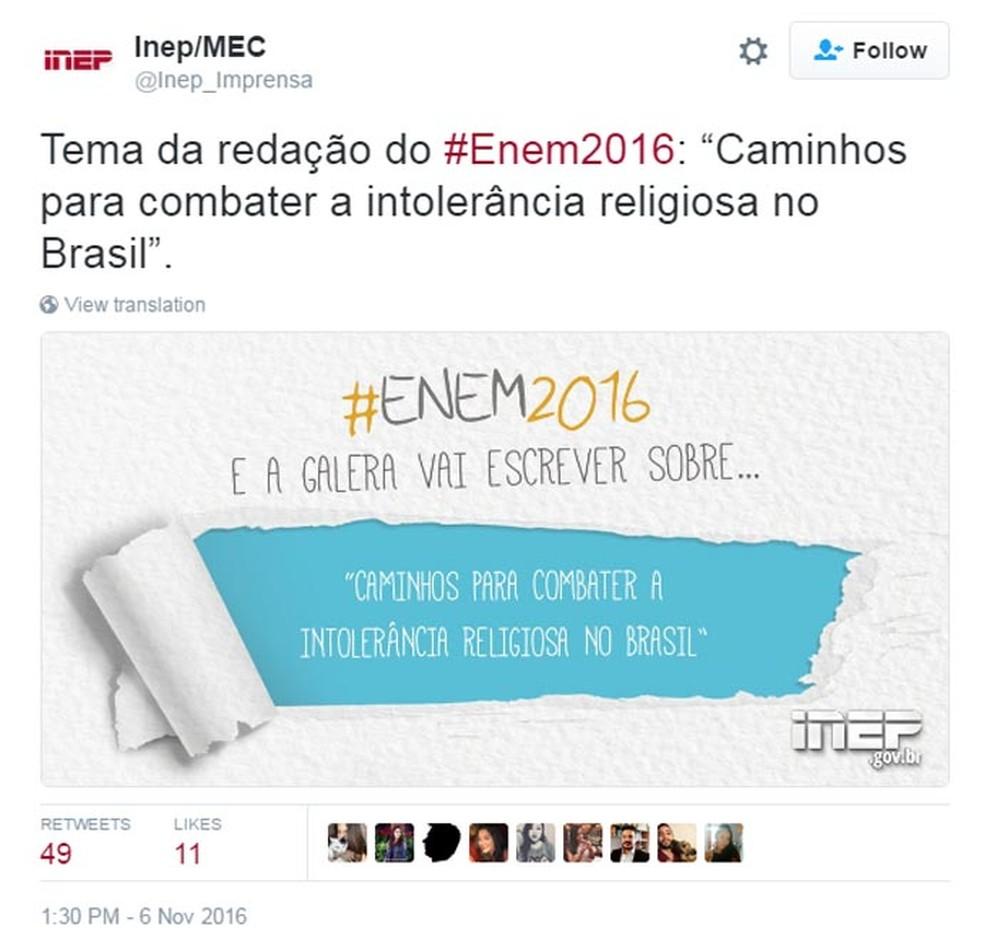 Inep divulgou o tema da redação do Enem 2016 pelo Twitter (Foto: Reprodução/Twitter)