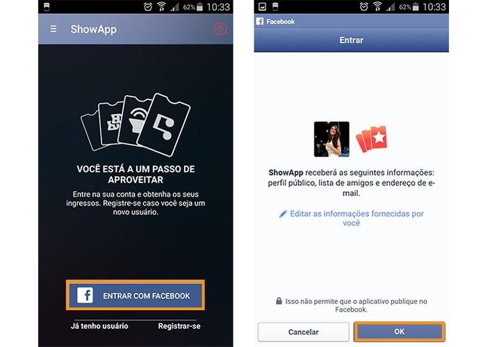 Faça o login do ShowApp com o Facebook (Foto: Reprodução/Barbara Mannara)