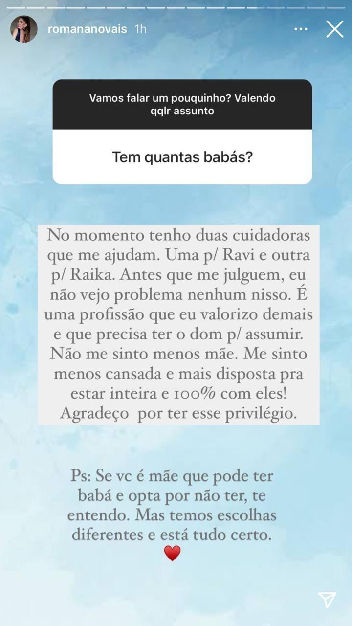 Romana Novais fala de ter babás para cuidar dos filhos (Foto: Reprodução/Instagram)