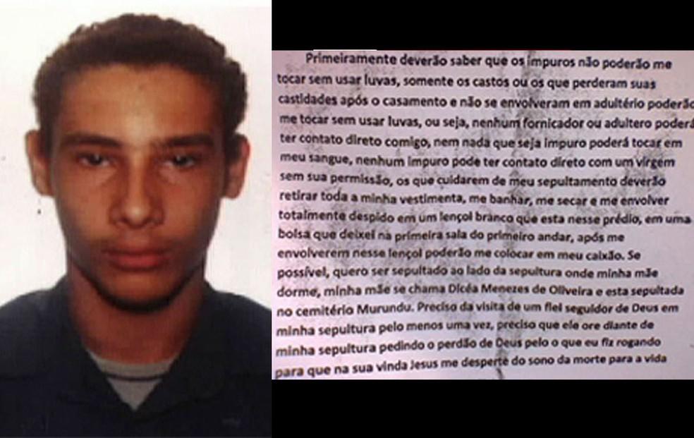 Imagem do autor do massacre, Wellington Menezes de Oliveira, e trecho da carta que ele deixou antecipando sua morte. — Foto: Reprodução/TV Globo