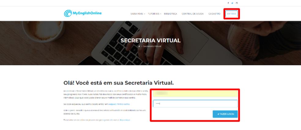 """Aperte o botão """"Entrar"""" e preencha os dados de login no site MyEnglishOnline (Foto: Reprodução/Daniel Ribeiro)"""