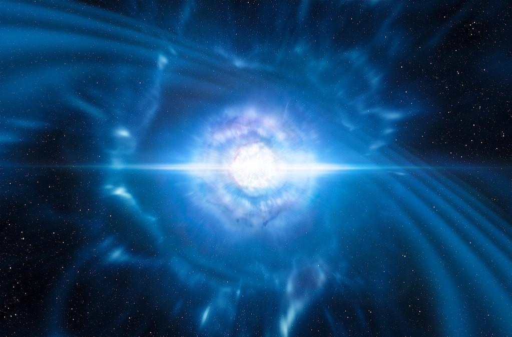 Representação artística de onda gravitacional (Foto: ESO/L. Calçada/M. Kornmesser/Wikipedia Commons)