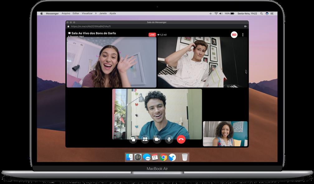 Videoconferência do Facebook pode ter até 50 pessoas ao vivo simultaneamente — Foto: Divulgação