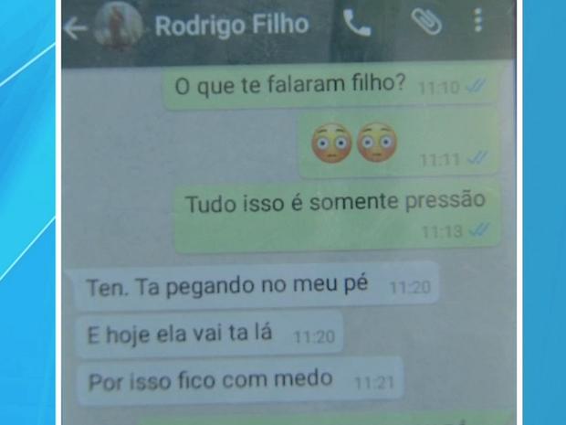 Em mensagem enviada para a mãe, Rodrigo disse que estava com medo (Foto: Reprodução/TVCA)