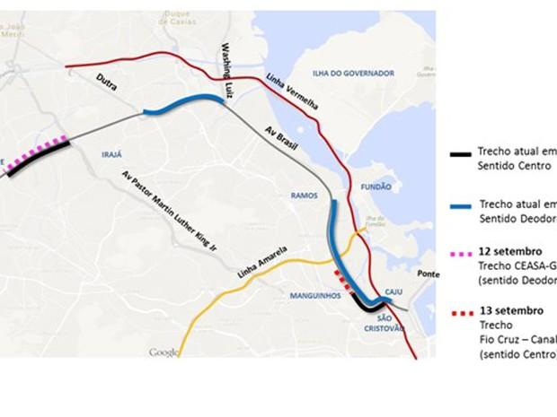 avenida do brasil mapa G1   Avenida Brasil tem novas alterações devido às obras do BRT  avenida do brasil mapa