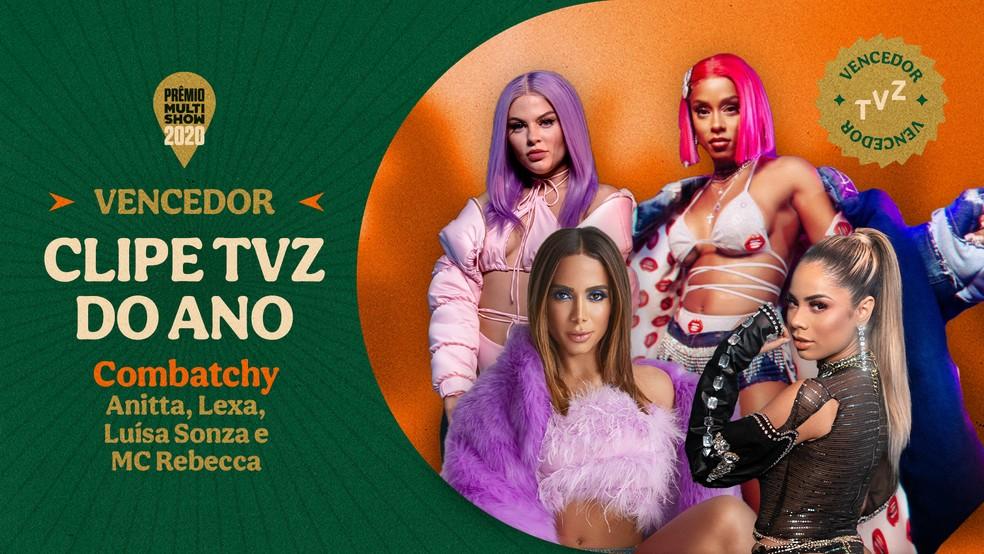 """Anitta, LEXA, Luísa Sonza e MC Rebecca vencem a categoria Clipe TVZ do Ano com """"Combatchy"""" — Foto: Divulgação Multishow"""
