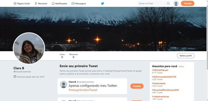 Perfil de um Twitter recém-criado (Foto: Reprodução/Clara Barreto)