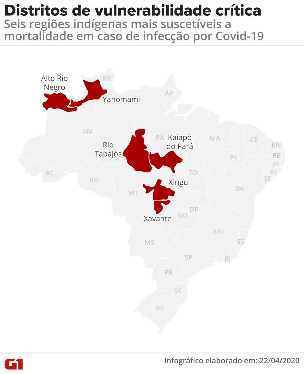 Mapa mostra distritos onde há maior risco para populações indígenas se houve um surto de Covid-19 — Foto:  G1