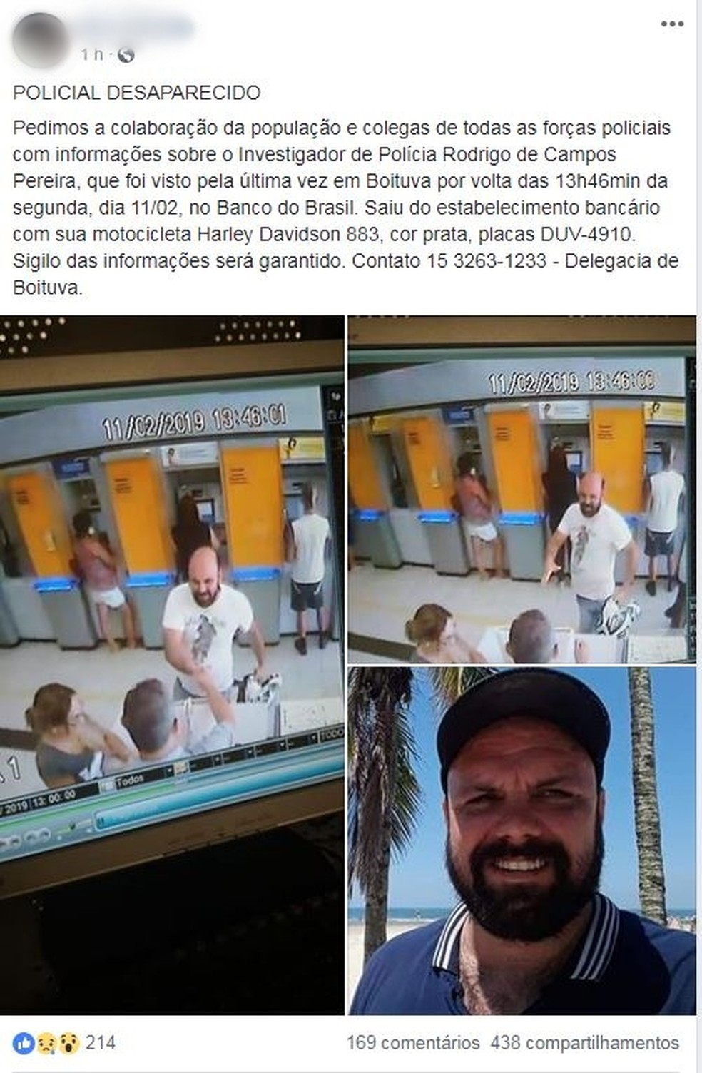 Imagens do policial em banco circularam nas redes sociais — Foto: Reprodução/Facebook
