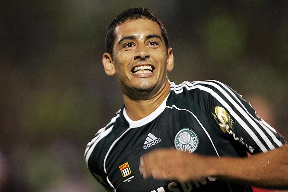Diego Souza comemorando gol do Palmeiras em 2019 — Foto: André Lessa/Estadão Conteúdo