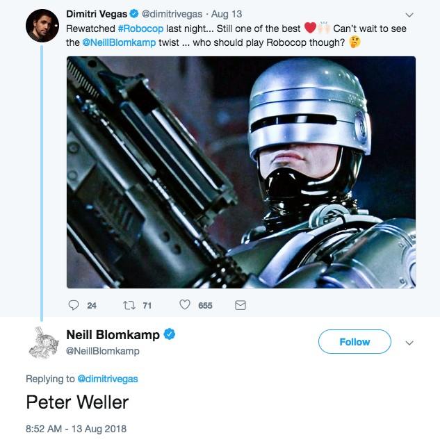 O post do diretor Neill Blomkamp revelando seu plano de contar com a presença do ator Peter Weller no papel de Robocop (Foto: Twitter)