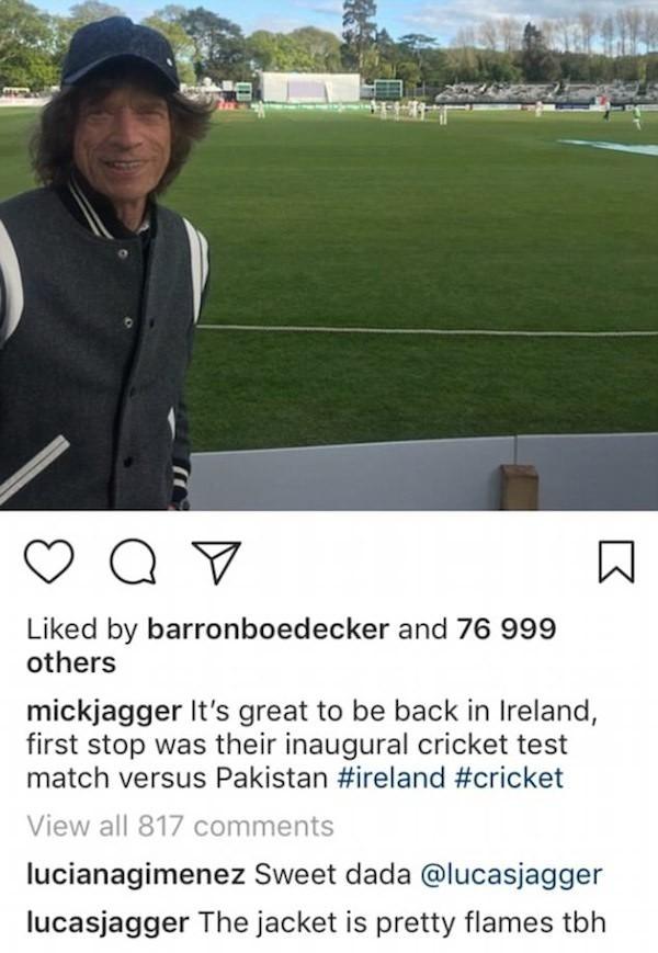 Um comentário de Lucas Jagger na foto do pai Mick Jagger (Foto: Instagram)