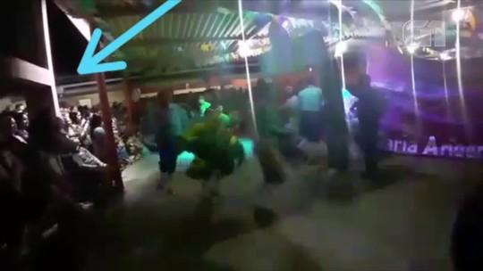 Cisterna cede e público que assistia a apresentação de quadrilha cai dentro da água no interior do RN; veja vídeo