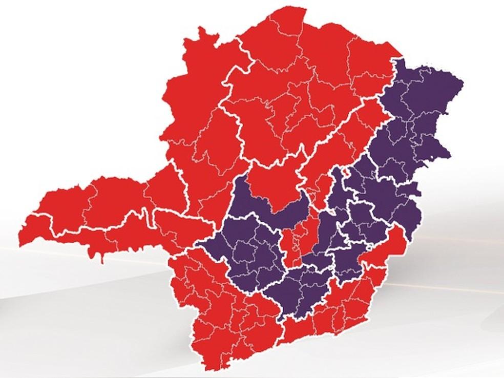 Macrorregiões Norte, Sul, Sudeste e Jequitinhonha avançam para onda vermelha do Minas Consciente — Foto: Governo de Minas Gerais