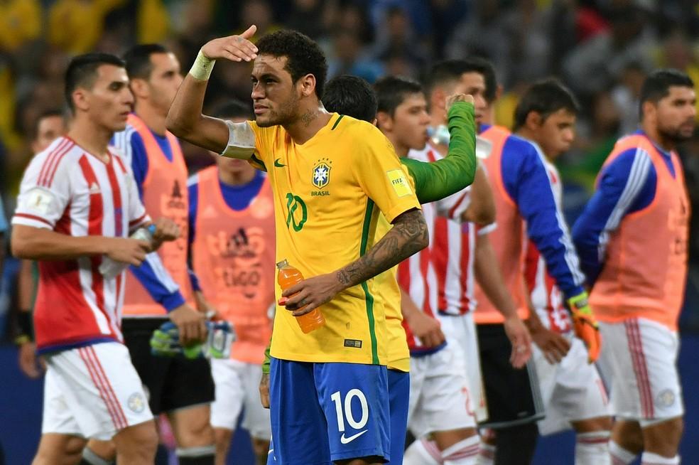 Última vez que as duas seleções se enfrentaram foi em 2017, na Arena Corinthians, pelas eliminatórias, com vitória do Brasil: 3 a 0 — Foto: AFP