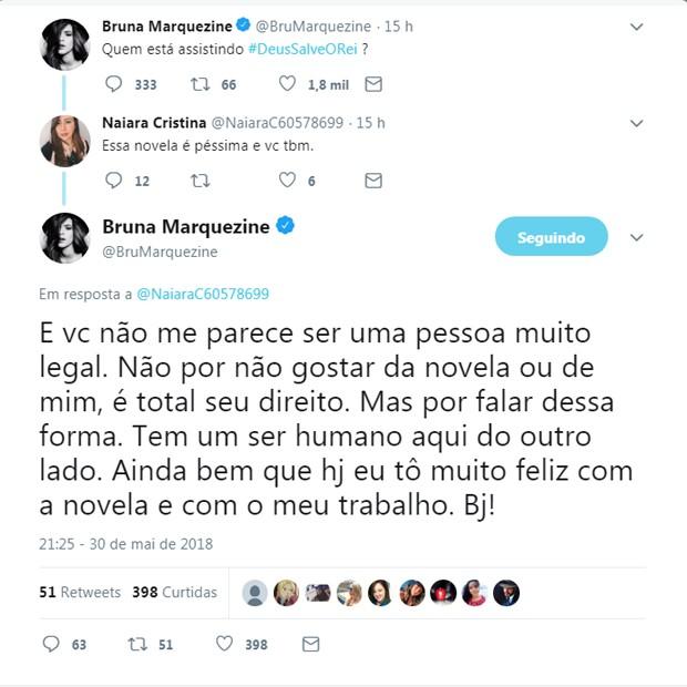 Bruna Marquezine responde seguidora em rede social (Foto: Reprodução/Twitter)