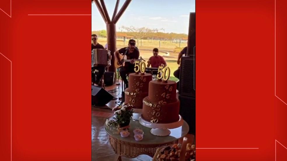 Festa de aniversário do governador Ibaneis Rocha e do ex-chefe da Casa Civil do DF, Valdetário Monteiro — Foto: Instagram/Reprodução